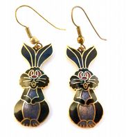 Vintage Cloisonne Enamel Quirky Bunny Drop Earrings.